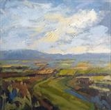 Across the Valley by Sarah Warley-Cummings, Painting, Oil on panel
