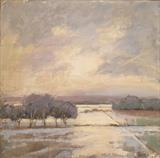 Flooded Fields by Sarah Warley-Cummings, Painting, Oil on Board