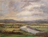 River Arun Valley by Sarah Warley-Cummings, Painting, Oil on Board